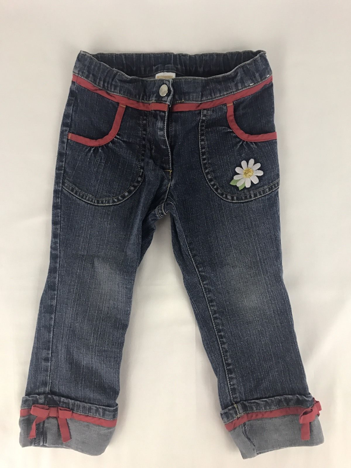 Primary image for Gymboree Wish You Were Here Red Trim Daisy Jeans Girls Size 4