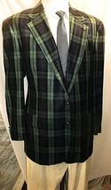 "D23 44 L Flannel Hilfiger Blazer Sport Coat Jacket Mens 25"" Arms Plaid Blue Green - $130.54"