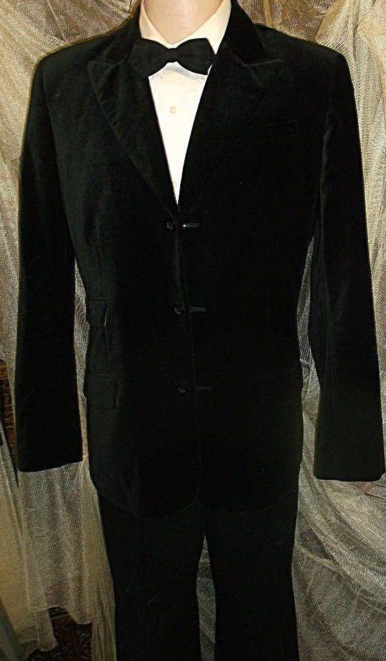 D23 42R BLACK VELVET TWO AM BLAZER Sport Coat Jacket mens 26