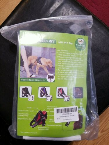 PAWFULL No Pull Reflective Dog Harness Kit with DIY tag. Medium. Black.