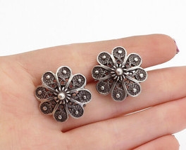 925 Sterling Silver - Vintage Dark Tone Twist Floral Non Pierce Earrings... - $41.14