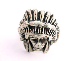 NATIVE AMERICAN Indian CHIEF Vintage RING in STERLING Silver - BIG and BOLD - $95.00