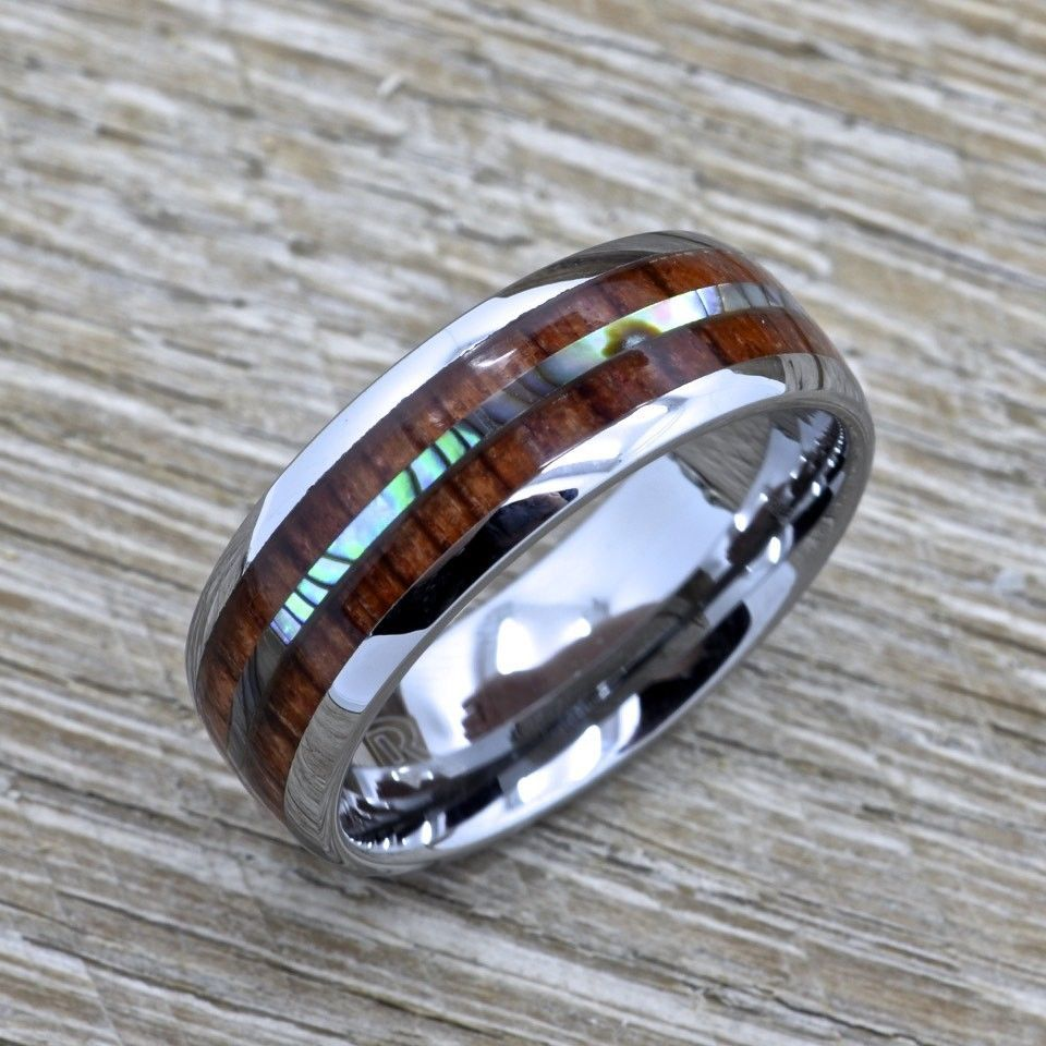 Men's Koa Wood Ring With Abalone Inlay, Tungsten 8mm Comfort Fit Wedding Band for sale  USA