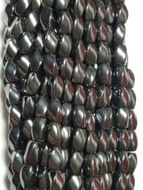 "Natural Black Magnetic Hematite Twist Beads 8x5mm 15.5"" Strand"