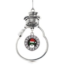 Inspired Silver Hipster Santa Circle Snowman Holiday Christmas Tree Ornament Wit - €12,81 EUR