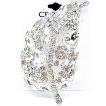 "Crystal Avenue Large Silver Tone Leaf 4"" Pin Brooch image 1"