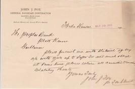 U.S. John J. Fox Kansas 1907 Railroad Contractor Send Statement Letter R... - $7.55