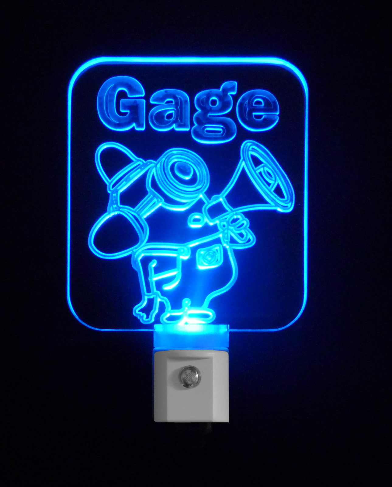 Kids Personalized Despicable Me Fireman Minion Inspired LED Night Light, Custom
