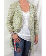 Live Life Sanctuary M sz Blouse Brown Green Ivory Floral Long Lightweigh... - $23.01