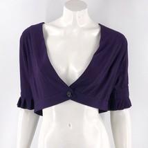 Perceptions Bolero Top Size 10 Petite Purple Solid Ruffle Sleeve One But... - $11.88