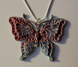 Big & Bold, Elegant Pink/Blue Filigree Butterfly Pendant w/Chain  - $14.00