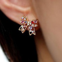 Women Stud Earrings Love Luxury Cute Style Rhinestone Alloy Bowknot - 1x Random