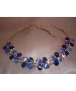 Blue Thermoplastic Flower Design Blue Necklace - $14.00