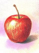 Akimova: APPLE, food, sweet, watercolor, ACEO - $5.50