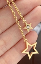 Authentic Christian Dior 2019 CD LOGO CHAIN STAR DANGLE DROP Earrings image 10