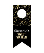 Sweet 16 Confetti Personalized Water Bottle Hang Tag - $26.24