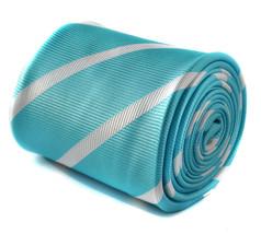 Frederick Thomas turquoise blue & white club striped mens tie FT1610
