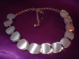 Vintage Thermoplastic Moon Stone Necklace - $18.00