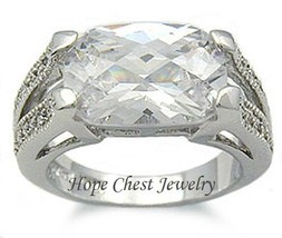 WOMEN'S STERLING SILVER 4 CT CUSHION CUT CZ ENGAGEMENT RING SIZE 5, 6, 8, 9 - $20.24