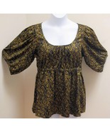 New H&M 14 Top Black Gold Paisley Paisley Swirl Peasant Puffed Sleeves S... - $17.62