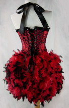 Size S-Saloon Girl Can Can Moulin Burlesque Costume w/Feather Train - $124.99