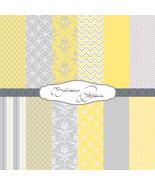 "Sunshine Yellow, Gray, White: Scrapbook Paper,12""x12"", Digital Paper, 12 Papers - $3.50"