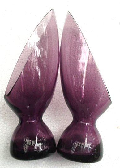 Old Eames Era Mid Century Purple Glass Candle Holders Retro