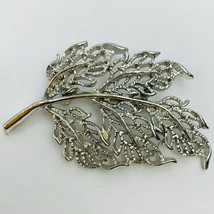 Vintage Gerrys Silver Tone Leaf Brooch Pin Open Work Textured Stylized S... - $19.75
