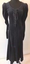 Vintage Betsey Johnson Black Velvet Lace Up Corset Dress size S Punk Lab... - $7.170,19 MXN