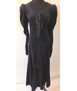 Vintage Betsey Johnson Black Velvet Lace Up Corset Dress size S Punk Lab... - $374.95