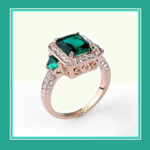 Emerald Cut Green Austrian Crystal with Crystal Accent 18K Gold Plated Ring