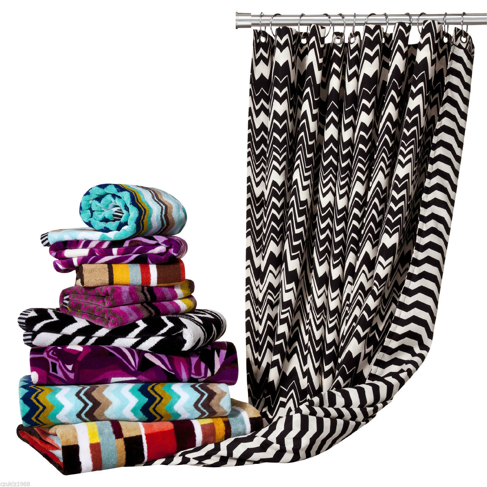 NEW Missoni Home Shower Curtain B&W Fabric and 50 similar items
