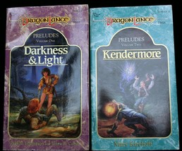 Lot 2 DragonLance PRELUDES V1-2 DARKNESS & LIGHT~KENDERMORE vntg TSR mmpb  - $11.25