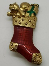 Vintage signed Danecraft enamel Christmas stocking with bear & gift brooch pin - $12.38