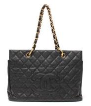 Auth CHANEL Tote Bag Black Matelasse Vintage Caviar Logo Inner Pocket B4906 - $2,988.81