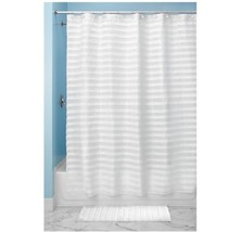 InterDesign Tuxedo X-Long Shower Curtain, White, 72 Inches X 96 Inches New - $28.68