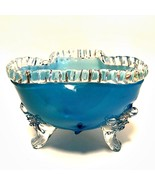 Turquoise Blue Footed Bowl Clear Ruffled Rim & Feet Hand Blown Glass 4 i... - $88.11