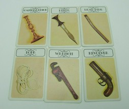 Clue 6 Weapon Cards Replacement Game Part Piece 1972 No.45 - $6.99