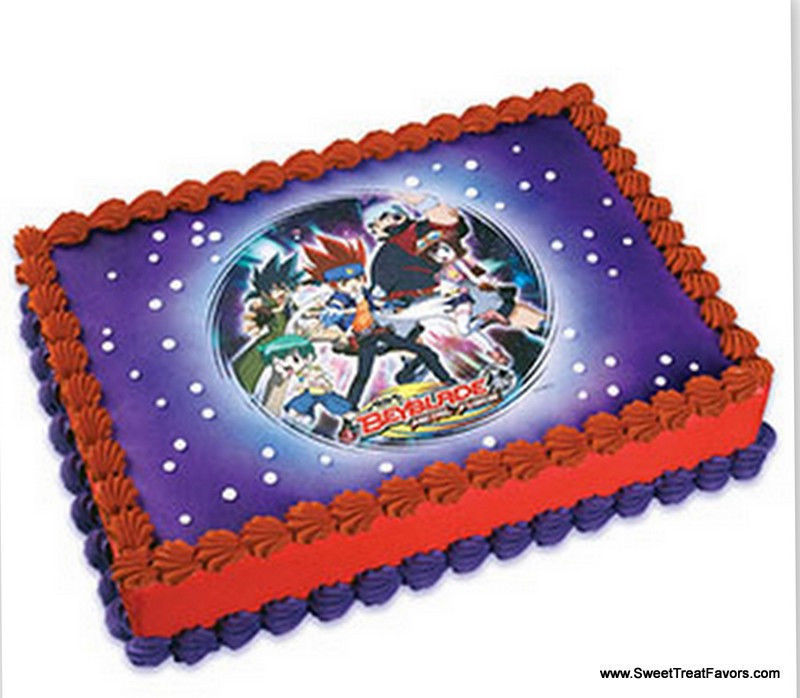 Beyblade cake decoration party image edible topper kit for Anime beyblade cake topper decoration set
