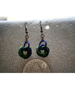 Mardi Gras Green and Purple Maile Mobius Spiral Earrings handmade in USA - $4.99