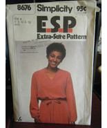 Vintage Simplicity 8676 Misses Pullover Dress & Tie Belt Pattern - Sizes 8/10/12 - $4.24