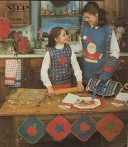 Vtg Christmas Place Mats Napkins Potholders Tabards Aprons Gift Bags Sew Pattern - $13.99