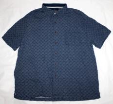 Nat Nast Mens Short Sleeve Button Front Silk Cotton Blend Shirt Size XL - $24.74