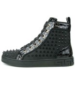 Encore by Fiesso Black Fashion High Top Sneakers with Spikes FI 2364 - $149.99