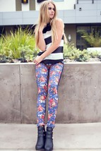 Fashion Mic Women's Full Length Casual Floral Jeggings - 827JN104 - $15.99