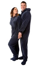 Big Feet Pjs - Navy Blue Hoodie Plush Adult Footed Pajamas - $54.34