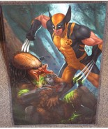 Wolverine vs The Predator Glossy Art Print 11 x 17 In Hard Plastic Sleeve - $24.99