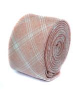 Frederick Thomas Designer Linen Mens Tie - Peach Orange - Check Plaid Sk... - $16.27