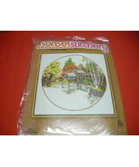 SUNSET STITCHERY CREWEL EMBROIDERY  KIT. FALL MILL POND. NEW. - $15.99