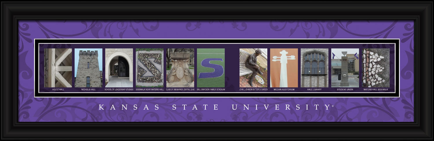 Kansas State University Officially Licensed Framed Letter Art - Manhattan, KS